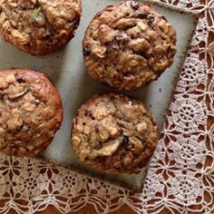 Hearty Breakfast Muffins - Allrecipes.com Carrot Muffins, Zucchini Muffins, Zucchini Banana, Healthy Muffins, Healthy Cookies, Muffin Recipes, Brunch Recipes, Breakfast Recipes, Breakfast Ideas