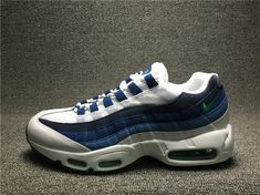 the best attitude 9698c 7c1ba 2018 Factory Authentic Nike Air Max 95 Og French Blue White Emerald Green  Court Blue New