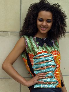 African Print Dipped Hem Bow Top by yapyapcouture on Etsy