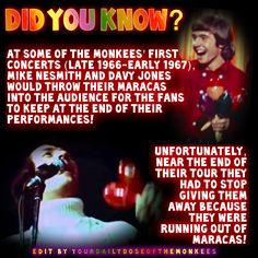 The Monkees Memes David Jones Mike Nesmith Peter Tork Micky Dolenz 1960's Monkees Funny Monkees Facts Fun Facts Monkees Trivia  InductTheMonkees Rock And Roll Hall Of Fame Monkees Maracas