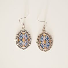 Portugal Blue AntiqueTile Replica Earrings by GiftsFromPortugal Etsy