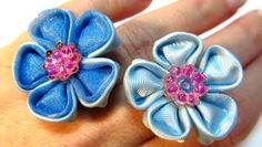 #DIY: Cómo hacer anillos con flores de cinta. How to make ribbon flowers rings