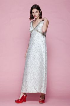 2d21f5cbc45b evening dress silver metallic gown empire waist v neck maxi vintage 60s  LARGE L Vintage Clothing