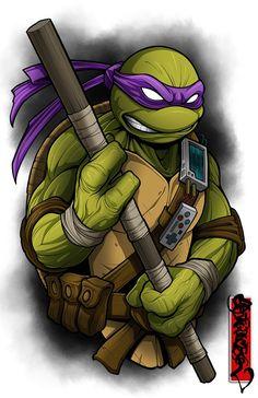 Image of The Nerdy One Ninja Turtle Drawing, Ninja Turtle Tattoos, Ninja Turtles Art, Teenage Mutant Ninja Turtles, Desenho New School, Images Star Wars, Cartoon Tattoos, Cartoon Art, Nerdy