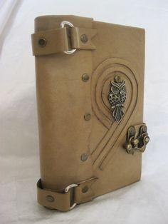 handmade blank leather journal notebook ''OWL'' emblem