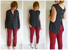 Refashion Co-op: Refashioned outfit: Polka Blouse… DIY Clothing & Tutorials: Refashioned outfit: Polka Blouse and jeans. polka-dot blouse refashion :: back to front! Button down blouse refashion. Turn around, trim neckline. Another refashion by turning Blouse Refashion, Diy Clothes Refashion, Refashioned Clothing, Upcycled Clothing, Refashioning Clothes, Diy Fashion, Ideias Fashion, Work Fashion, Unique Fashion