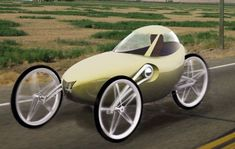 Concept puts Velomobile in an 'American form'. Designed by Joseph Campbell, making it more Suitable for the Roads of America and Mass Production,