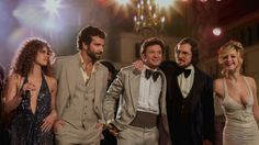 Still of Christian Bale, Amy Adams, Bradley Cooper, Jeremy Renner and Jennifer Lawrence in American Hustle Actor .Christian Bale and Best Supporting Actor Bradley Cooper nominees Christian Bale, Jeremy Renner, Amy Adams, Bradley Cooper, Jesse James, Hustle Movie, Silver Linings, Glow, Robert De Niro