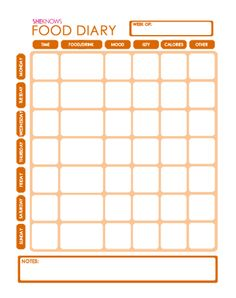weekly food diary templates