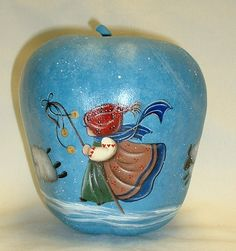 Shepherd Girl with Sheep  Hand Painted Apple by FromGramsHouse,