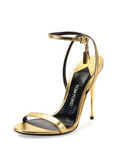 If I had shoes this fabulous, I'd lock them on my ankles!  Metallic Ankle-Lock Sandal, Gold by Tom Ford at Neiman Marcus.