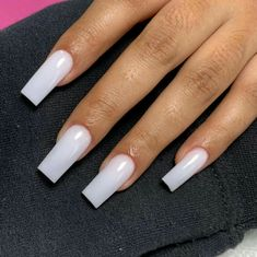 Short Square Acrylic Nails, Long Square Nails, Tapered Square Nails, White Acrylic Nails, Best Acrylic Nails, Long Nail Designs Square, Blush Nails, Aycrlic Nails, Teen Nails