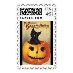 Vintage Halloween Smiling Cute Black Cat Pumpkin Postage Stamps