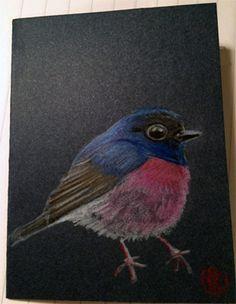 Kaarten handgemaakt set-2st. met getekende vogel door RingDesignNL