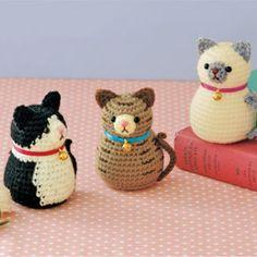 マトリョーシカ風のシルエットがかわいい!三種類のねこさんのあみぐるみの編み方(ニット・編み物)