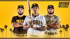 San Diego Padres unveil new uniforms with brown-and-gold colour scheme - BoredRenan Gold Color Scheme, Color Schemes, Gold Colour, Baseball Video Games, Eric Hosmer, Tupac Quotes, San Diego Padres, American League, National League