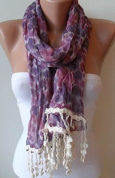 Purple Flowered Scarf  with Beige Trim Edge  Spring by SwedishShop, $19.90