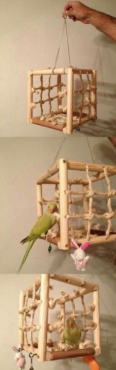 Note hanging hooks on bottom for other toys DIY cube. Note hanging hooks on bottom for other toys Diy Parrot Toys, Diy Bird Toys, Diy Budgie Toys, Parrot Perch Diy, Diy Bird Cage, Bird Cages, Homemade Bird Toys, Parakeet Toys, Rat Toys
