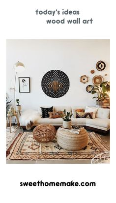 Today's Ideas For White Home Decoration Styles with Abstract-Wood Wall Art Todaysideas Todaysproduct Homedecor Wallart Walldecor Wanddeko Woodworking 276619602099094614 Boho Living Room, Living Room Decor, Bedroom Decor, Bedroom Wall, White Wall Decor, White Wall Art, Bohemian Decor, Boho Chic, Bohemian Wall Art