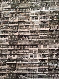 Black and White Yaumatei Print by (drawn): The tenement buildings of old Hong Kong are covered in illegal structures that form a giant multi-storey patchwork. Concept Models Architecture, Building Drawing, Photo P, Cyberpunk Art, Urban Sketching, Office Art, Environmental Art, Illustration Sketches, Watercolor Print