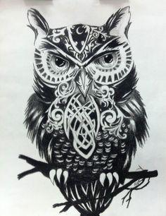 black & white owl (illustrator unknown)