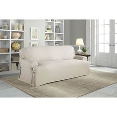 Achieve a fresh look with the Perfect Fit Relaxed Fit Cotton Duck T-Cushion Sofa Slipcover. The highly durable material is soft and comfortable so you can enjoy your furniture without worry. Arm ties bring this slipcover's tight, tailored look together. Best Sofa, Loveseat Slipcovers, Slipcovered Sofa, Furniture Slipcovers, Sofa Furniture, Recliner Slipcover, Cushions On Sofa, Furniture, Furniture Covers