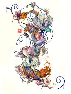 Tattoo Commission by Asfahani.deviantart.com on @deviantART Lotus flower, dragon, japanese