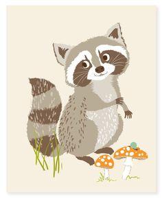 raccoon - art print. $15.00, via Etsy.: