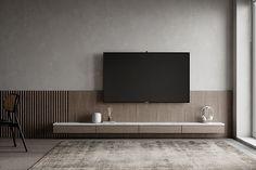 Tv Wall Design, Tv Unit Design, House Design, Residential Interior Design, Interior Architecture, Classic Living Room, Tv In Bedroom, Minimalist Living, Apartment Design