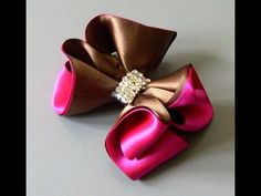 Laço de fitas marron e rosa Passo a Passo-satin ribbon bow - YouTube