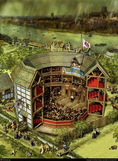 Cutaway Painting of Shakespeare's Globe Theatre London History, British History, Globe Theatre, Elizabethan Theatre, Shakespeare In Love, Shakespeare Theatre, Romeo Und Julia, Medieval, Fantasy City