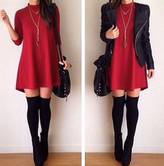 black leather jacket, red three quarter length high neck dress with long necklace, over the knee thigh high black socks and black wedge ankle boots.