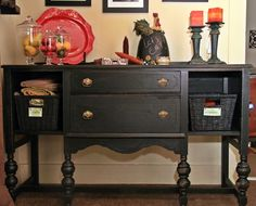 Distressed Black Buffet...you need to see the before pic