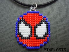 Spiderman Symbol Necklace Handmade Seed Bead от Pixelosis