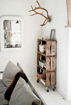 Love the Crate Bookcase on casters! Great Idea.