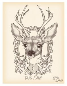via riklee: Run Away - © Rik Lee Deer tattoo design commission for Rebecca. Once again this is a personal commission piece so I ask that no one go getting this tattooed thanks. Stag Tattoo, I Tattoo, Tattoo Time, Raven Tattoo, Samoan Tattoo, Polynesian Tattoos, Cervo Tattoo, Rik Lee, Hirsch Tattoo