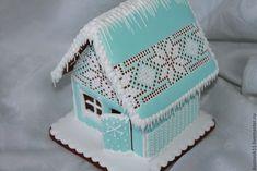 """Купить Пряничный домик """" Ледяное кружево"""" - голубой, белый, кружево, кружева, пряничный домик"""