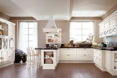 Provence-style kitchen highlights the creation of the Interior in the Provençal style - Part 3 Floor Design, House Design, Solid Wood Kitchens, Provence Style, Kitchen Furniture, Beautiful Homes, Kitchen Cabinets, Flooring, Interior Design