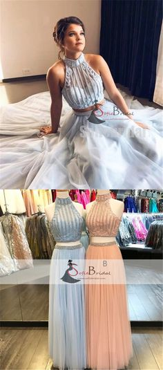 2 Pieces Halter Illusion Pearl Beaded Tulle Prom Dresses, Lovely Long Prom Dresses, PD0368 #Sofiebridal #promdresses #longpromdresses #2pieces #fashion #prom