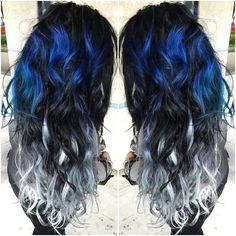 Blue and Silver Ombre Colorful Indian Remy Clip in Hair Extensions - - Blue and Silver Ombre Hair Color Extensions for Black hair girl~ Amazing new look~ Vpfashion new hair style come~ - - Ombre Hair Color, Cool Hair Color, Ombre Style, Balayage Color, Hair Color Ideas For Black Hair, Unique Hair Color, Hot Hair Colors, Balayage Hair, Dye My Hair