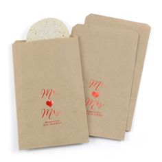 Mr. and Mrs. - Treat Bags - Personalized - Kraft. Available at Persnickety Invitation Studio.