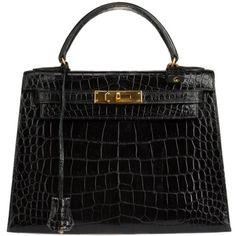 Pre-Owned Vintage Hermes Crocodile 28 Kelly Bag found on Polyvore featuring bags, handbags, hermes, purses, black, vintage crocodile purse, vintage purse, crocodile purse, hermes handbags and polka dot purse