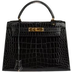 Pre-Owned Vintage Hermes Crocodile 28 Kelly Bag ($12,750) ❤ liked on Polyvore featuring bags, handbags, hermes, purses, black, colorful handbags, vintage hand bags, man bag, preowned handbags and multi colored handbags