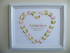 Personalised Name Art Prints for Nursery or Child's Room.... Made by a lovely friend of mine! Do check out her beautiful butterfly creations!!