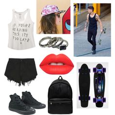 skateboarding date zayn by the-older-sister on Polyvore featuring polyvore fashion style Wet Seal Nana Judy Converse Yves Saint Laurent Vans Lime Crime