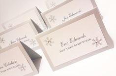 Escort Cards Winter Wedding Snowflake Place Cards Tented Table Assignments Weddings Rehearsal Dinner Reception Decor Customizable- DEPOSIT. $10.00, via Etsy.