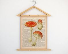 """Mushroom dictionary print, Antique botanical print, Upcycled dictionary, Dictionary art, Mushroom illustration, Download vintage print, JPG.  All dictionary prints: https://www.etsy.com/shop/LizasDictionaryArt  YOU WILL RECEIVE 300dpi RESOLUTION 2 JPG FILES!!!  1 JPG file at 8X10 inches; 1 JPG file at 11X14 inches.  IF YOU PREFER ANOTHER SIZE of this print you may request a custom order and I will resize it. Just press the button """"Request custom order"""", write dimensions an..."""