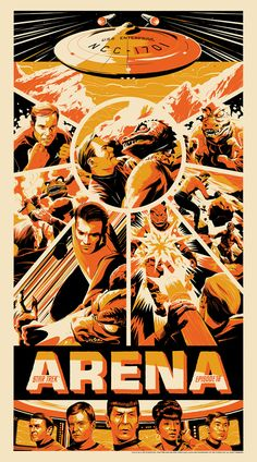 "Check out this kick-ass piece of Star Trek art created by Matt Taylor for Mondo . The poster pays tribute to episode 18 of the original series called ""Arena. This might just be one of my favorite Star Trek il New Star Trek, Star Wars, Star Trek Tos, Screen Print Poster, Poster Prints, Affiche Star Trek, Akira, Omg Posters, Movie Posters"