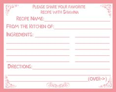 50 recipe cards for bridal shower classic pink