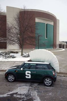 Michigan State Spartans Mini Cooper outside the Breslin Center at Michigan State University, East Lansing, Michigan